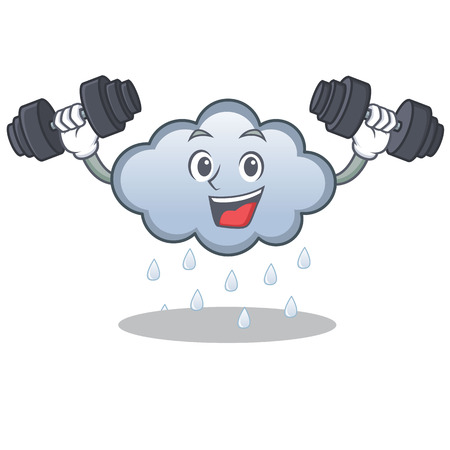 Fitness rain cloud character cartoon Illustration