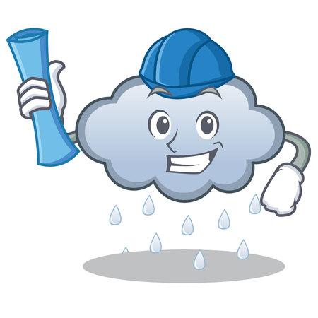Architect rain cloud character cartoon