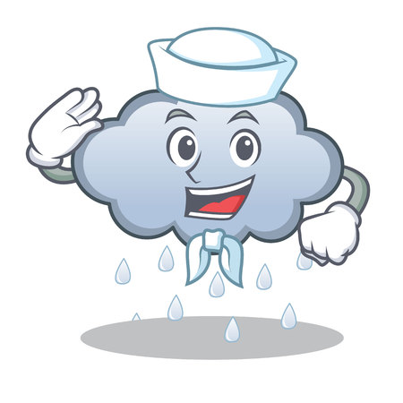 Sailor rain cloud character cartoon Illustration