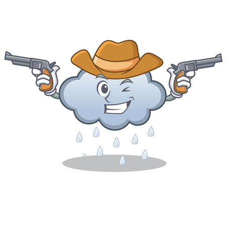 Cowboy rain cloud character cartoon vector illustration