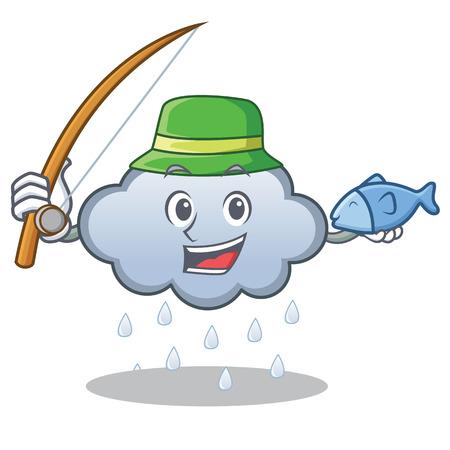 Fishing rain cloud character cartoon vector illustration