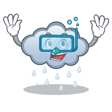Diving rain cloud character cartoon vector illustration