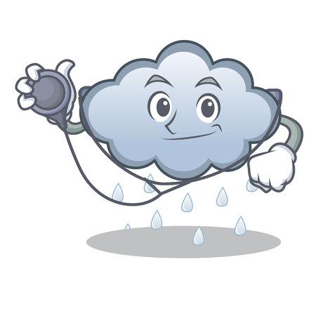 Doctor rain cloud character cartoon vector illustration
