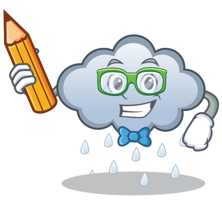 Student rain cloud character cartoon vector illustration
