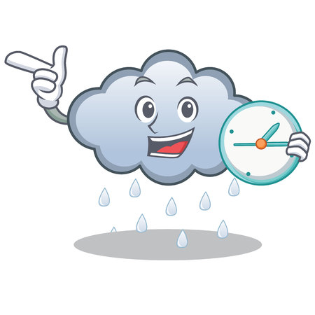 With clock rain cloud character cartoon vector illustration Illustration