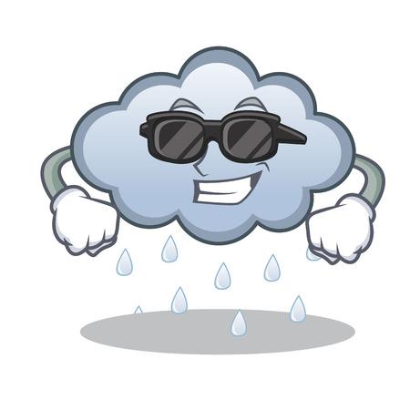 Ilustración de vector de dibujos animados de personaje de nube de lluvia super guay