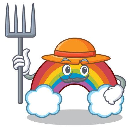 Farmer colorful rainbow character cartoon