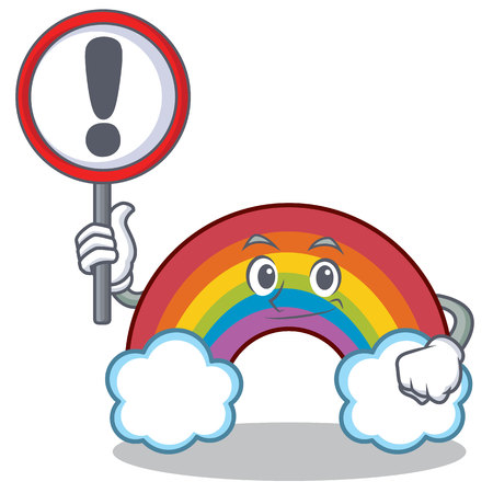 With sign colorful rainbow character cartoon