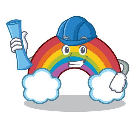 Architect colorful rainbow character cartoon Vektorové ilustrace