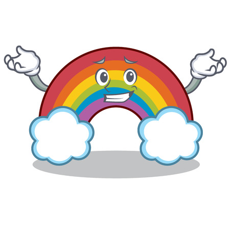 Grinning colorful rainbow character cartoon Illustration