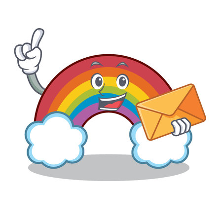 With envelope colorful rainbow character cartoon