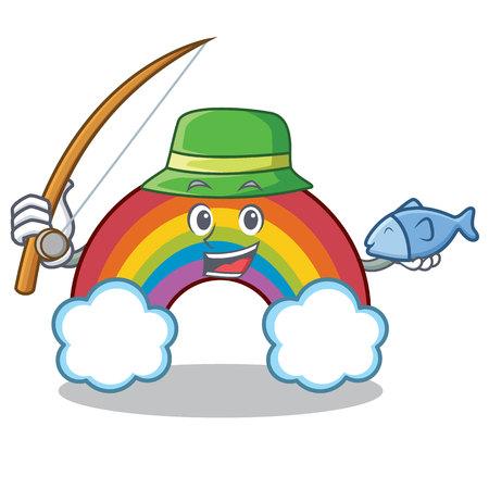 Fishing colorful rainbow character cartoon Illustration