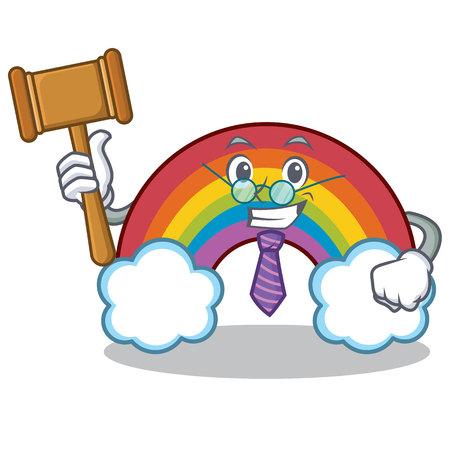 Judge colorful rainbow character cartoon Illustration