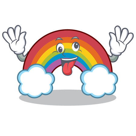 Crazy colorful rainbow character cartoon