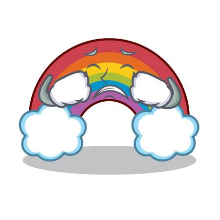 Crying colorful rainbow character cartoon