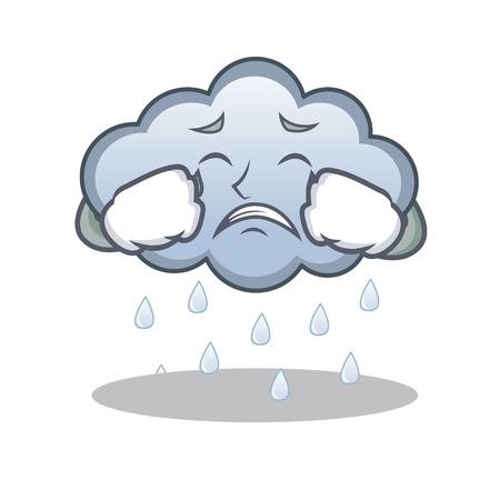 Crying rain cloud character cartoon Illustration