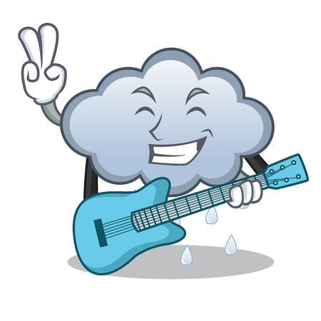With guitar rain cloud character cartoon Illustration