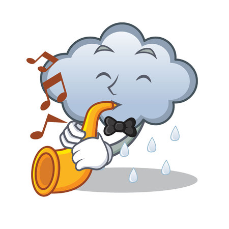 With trumpet rain cloud character cartoon Illustration