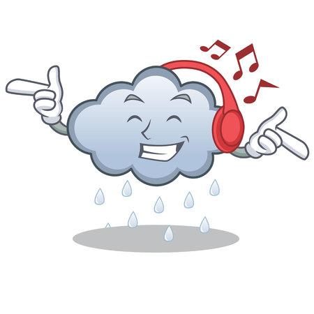 Listening music rain cloud character cartoon
