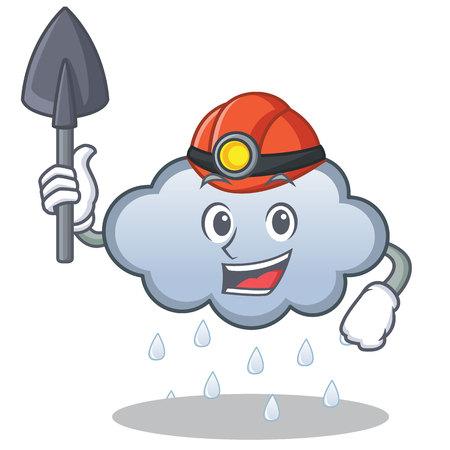 Miner rain cloud cartoon character.