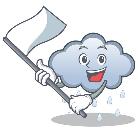 With flag rain cloud character cartoon vector illustration