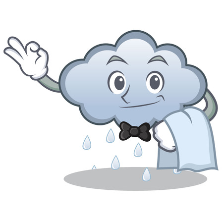 Waiter rain cloud character cartoon vector illustration Illustration