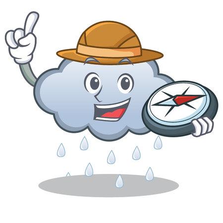 Explorer rain cloud character cartoon vector illustration