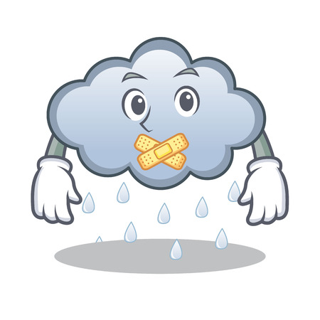Silent rain cloud character cartoon vector illustration