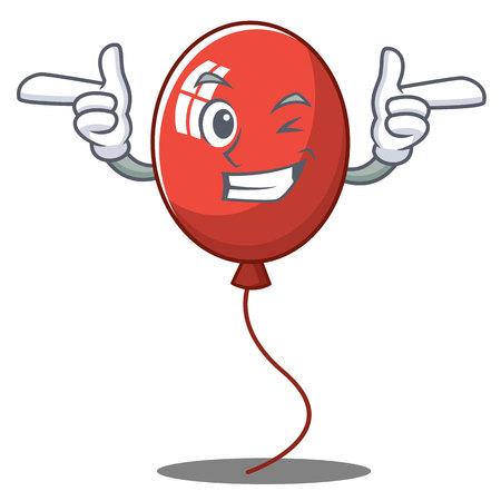 Wink balloon character cartoon style vector illustration
