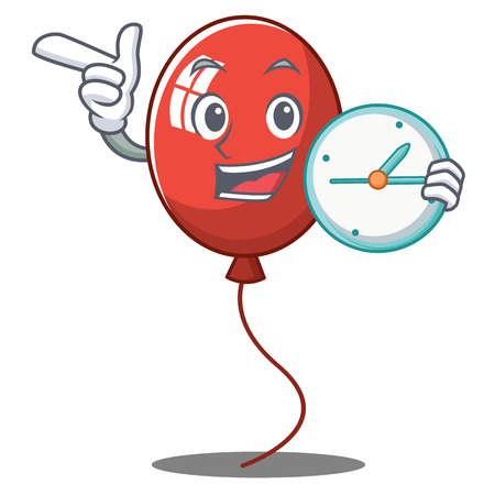 With clock balloon character cartoon style Illustration