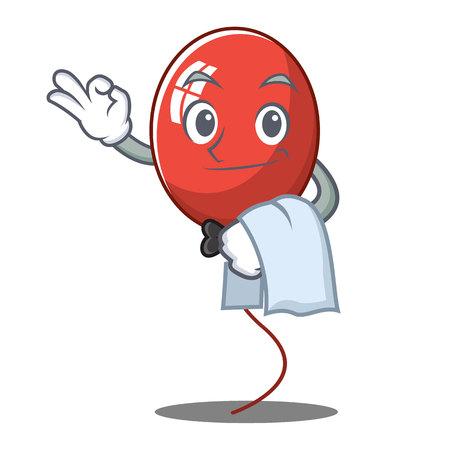 Waiter balloon character cartoon style vector illustration