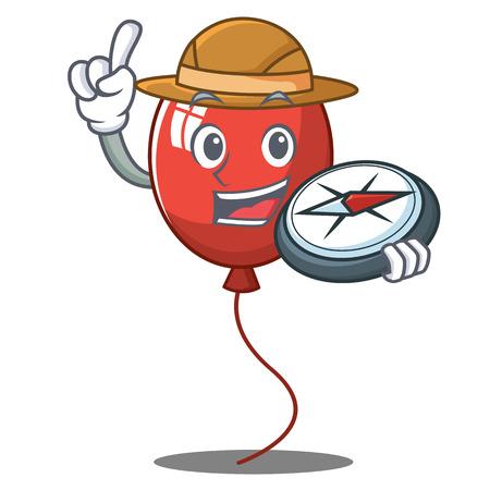 Explorer balloon character cartoon style vector illustration