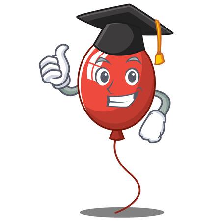 Graduation balloon character cartoon style vector illustration Illustration