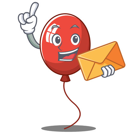 With envelope balloon character cartoon style vector illustration