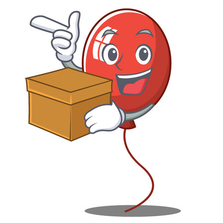 With box balloon character cartoon style vector illustration