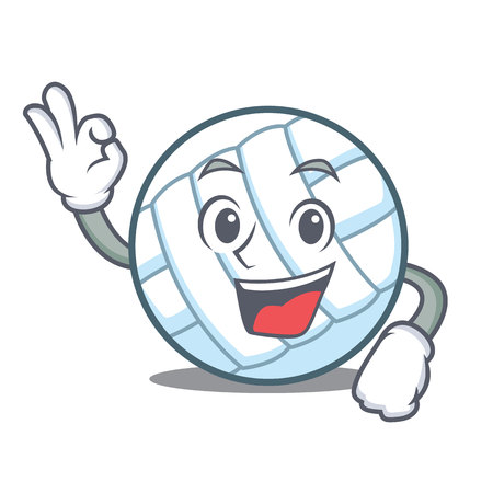 Okay volley ball character cartoon vector illustration Ilustração