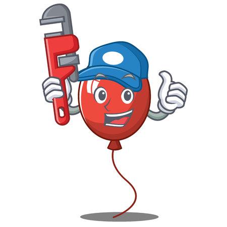 Plumber balloon character cartoon style vector illustration Illustration