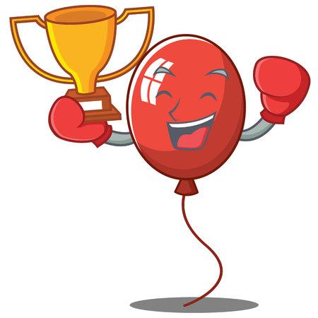 Boxing winner balloon character cartoon style