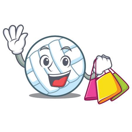 Shopping volley ball character cartoon