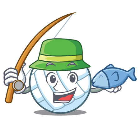 Fishing volley ball character cartoon