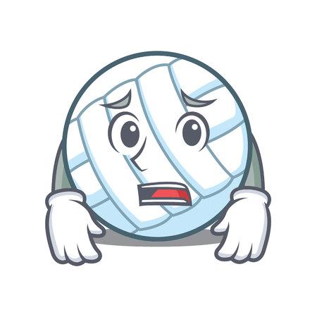 Afraid volley ball character cartoon
