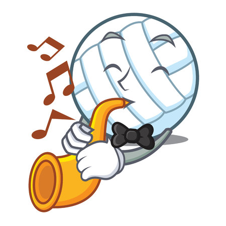 eye ball: With trumpet or saxophone volley ball character cartoon Illustration