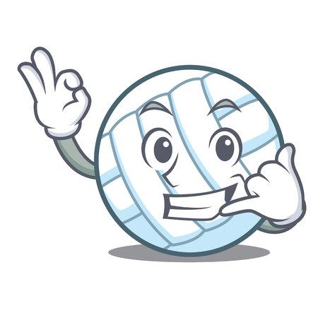 Call me volley ball character cartoon Illustration