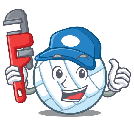 Plumber volley ball character cartoon