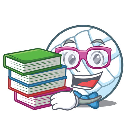 Student with book volley ball character cartoon