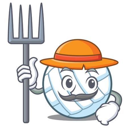 Farmer volley ball character cartoon Illustration