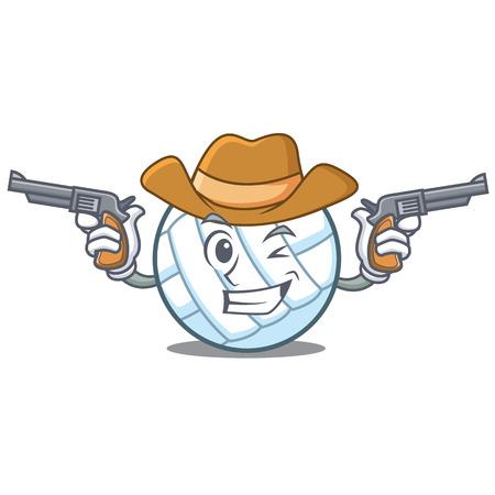 Cowboy volley ball character cartoon