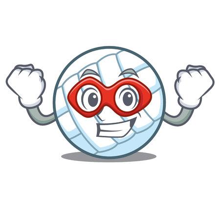 Super hero volley ball character cartoon