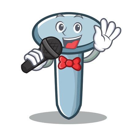 Singing nail character cartoon style Vectores