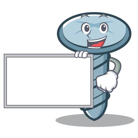 Met bordschroef karakter cartoon-stijl Stock Illustratie